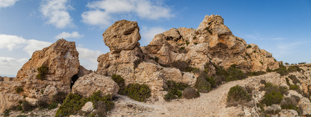 Limestone rocks of Malta island. Panoramic view.