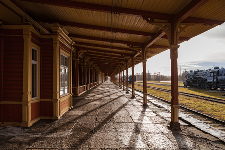Old train station. Wooden wrok from last century, vintage style of Northern Europe. Stock fotó - 85105978