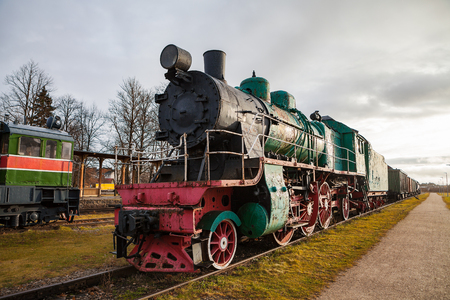 Old vintage steam locomotive from XX century Russian empire and USSR Stock Photo
