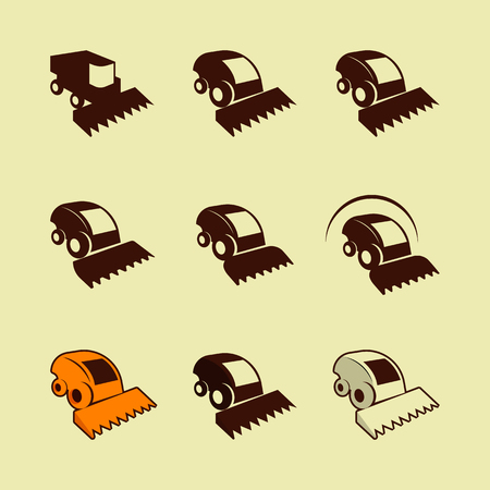 harvester: Combine icons. Harvester signs. Vector symbol. Isolated