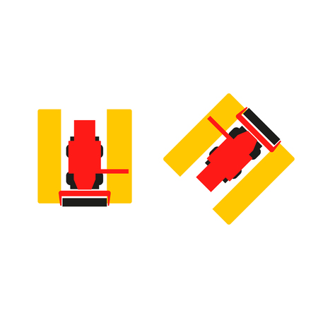 combine: Combine icons. Harvester signs. Vector symbol. Isolated