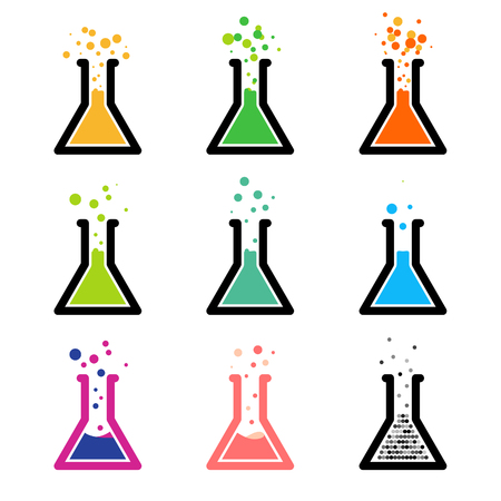 reagent: Chem  . Test tubes with colored reagent. Chemical reaction. Laboratory experiment.