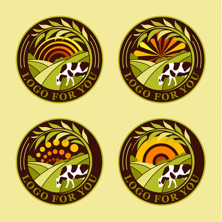 fresh meat: Set of round agricultural vector  . Farm icons. Dairy products symbols. Fresh meat signs. Green meadow illistration. Nature image. Organic products. Eco label. Rural landscape. Illustration