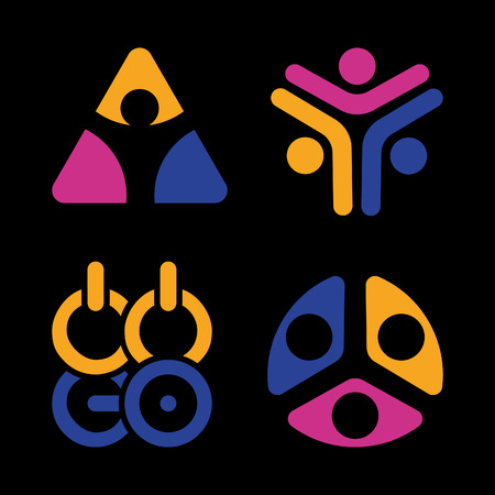 la union hace la fuerza: Abstract vector isolated colorful   on black background. Sports Union  . An association. Group.