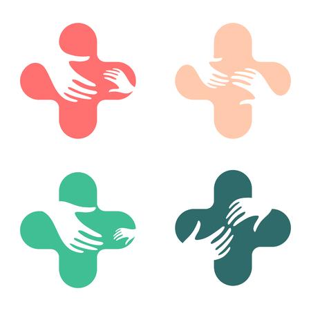 respeto: signo de diseño abstracto de la mano. amor vector de los niños