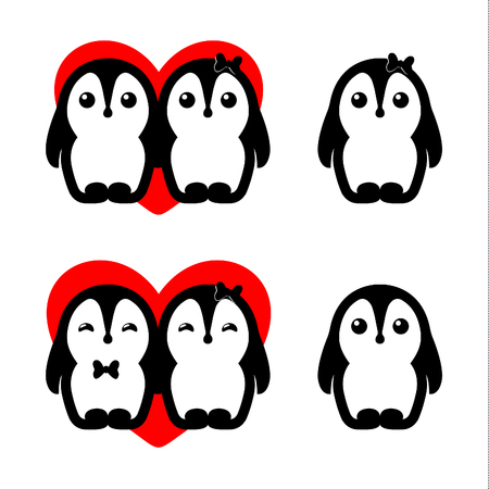 to confess love: Isolated vector penguin couple   set. Winter illustration. Animals icon. Valentines Day greeting card element. Childrens toys.Cute male and female birds in love illustration.