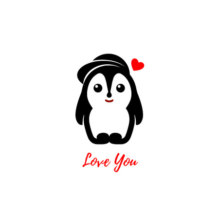 st  valentine's day: Isolated vector penguin  . Winter illustration. Animals icon. St. Valentines Day greeting card element. Love image. Childrens toy. Cute male bird illustration. Male penguin in love.