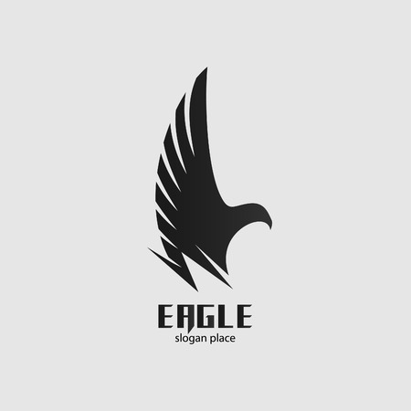 Isolated vector black eagle  . Graphic bird icon. Side-view flying bird illustration. Spread wings label. Freedom symbol. Pride sign. Çizim