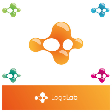 blotch: Set of abstract vector  . Colorful collection of bright paint drops. Group of molecular signs. Atomic background. Blotch images. Virus icons. Medical symbols.