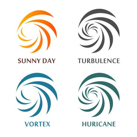 Conjunto de vectores de giro abstracto. Colección de los desastres naturales signos. símbolos de información meteorológica. espirales hipnóticas. ilustraciones tornado, huracán, vórtice, remolino, tormenta de nieve. Sunny señal.