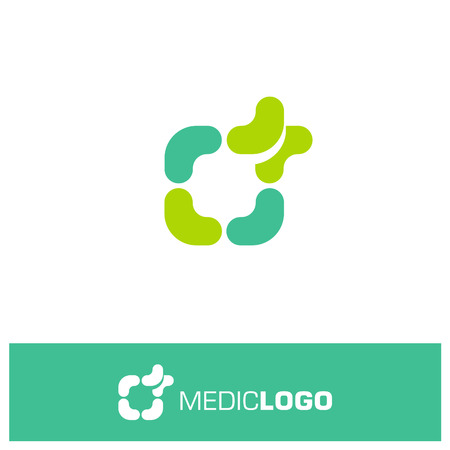 medical symbol: Isolated green and turquoise vector medical  . Medical cross. Frame with cross.  Religious sign. Ambuance symbol. First aid box.