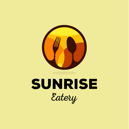 restaurant: Isolated yellow and orange vector food service  . Table setting icon. Fork and spoon image. Round  . Sunrise illustration. Eatery emblem. Restaurant sign. Cafe symbol. Delicious meals. Illustration