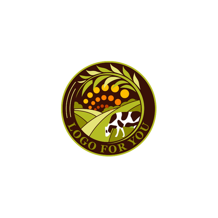 fresh meat: Isolated round agricultural vector  . Farm icon. Dairy products symbol.. Fresh meat sign. Green meadow illistration. Nature image. Organic products. Eco label. Rural landscape.