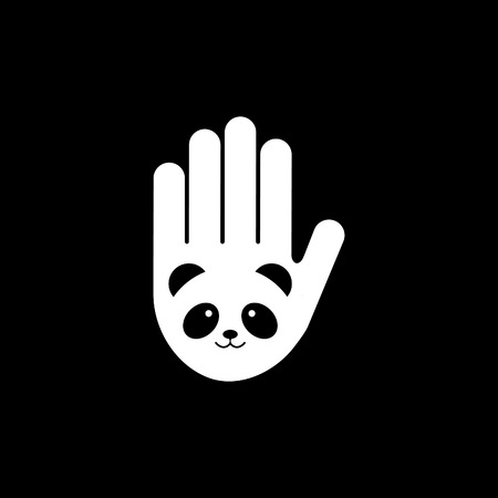 Isolated black and white image of panda head on hand vector . Save pandas symbol.Bamboo bear image. Extinct animal sign. World panda day. Protect wild animals. Chinese nature