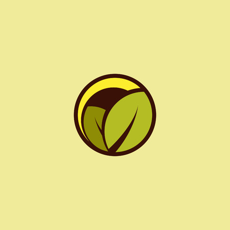 garden landscape: Round abstract vector  . Landscape view illustration. Sunrise, sunset image. Green garden icon. Green and yellow colors. Nature label. Sunny day. Agricultural image. Farm. Spring icon. Summer. Illustration