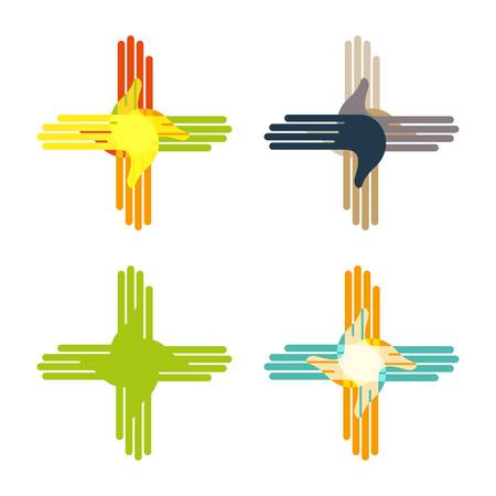 mutual assistance: Abstract hand design sign. Vector love children