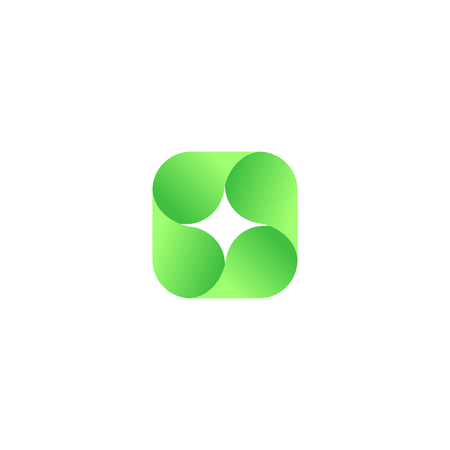 rounding: Abstract vector red isolated  . Icon design shape spiral sign. Green color star. Square, geometric shape.