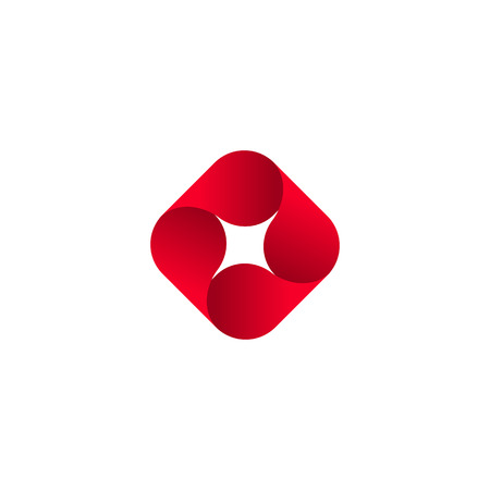 rounding: Abstract vector red isolated  . Icon design shape spiral sign. Red star. Square, geometric shape.