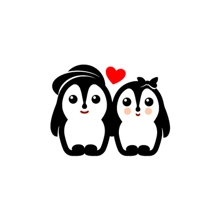 to confess love: Isolated penguin couple icon.