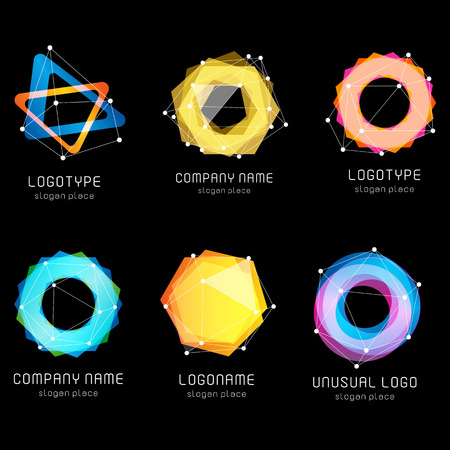 gemstone: Unusual abstract geometric shapes vector logo set. Circular, polygonal colorful logotypes collection on the black background. Vector illustration