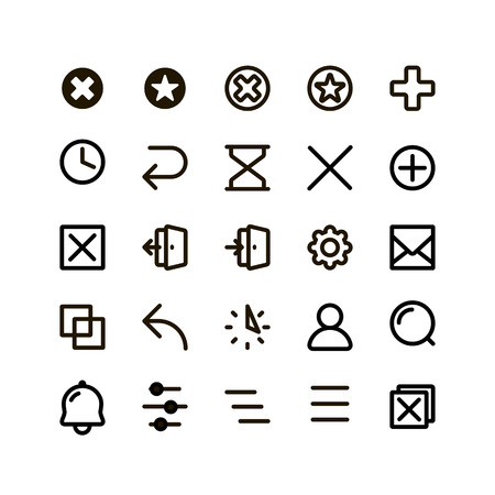 contoured: Isolated black outlined buttons vector icons set. Simple flat contoured web icons on the white background Illustration