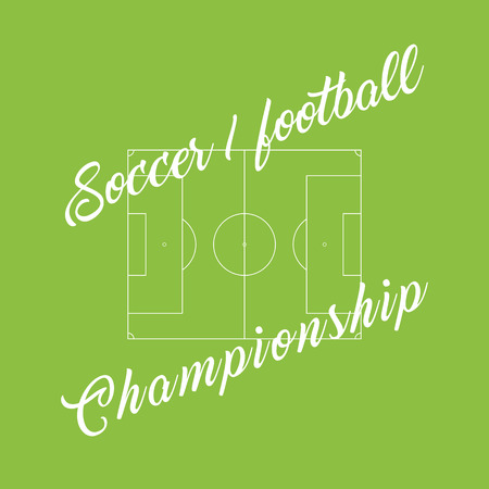 outdoor seating: Championship soccer, football green background. Stadium line