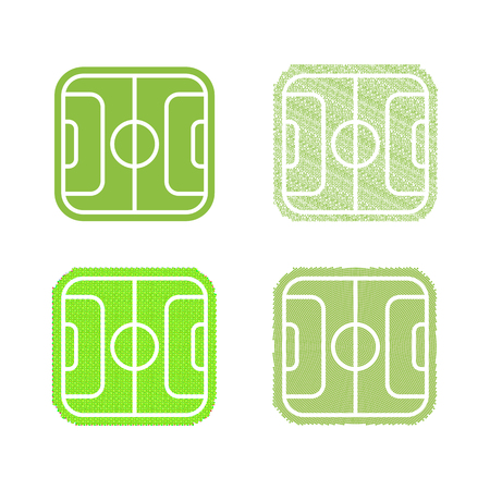 outdoor seating: Isolated abstract football, soccer field vector set. Green color sport collection