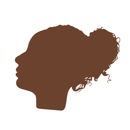 manequin: Isolated dark brown color women side view vector logo. Beauty salon logotype on the white background. Hairdresser business card element. Minimalistic female silhouette. Cosmetics icon