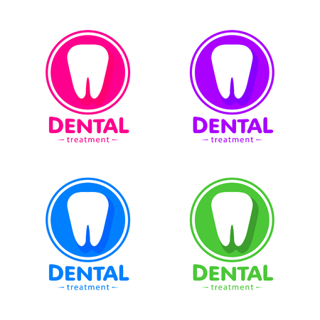 dental implants: Isolated white tooth vector set. Round shape. Tooth hygiene collection on the white background. Dental implants icons group. Caries treatment sign Illustration