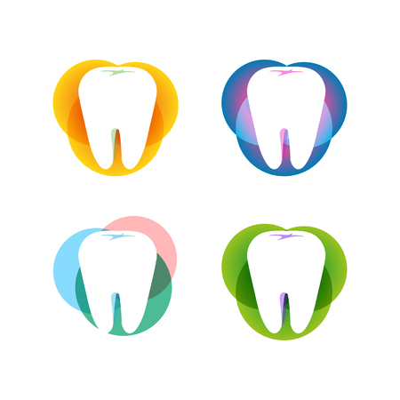doctor visit: Isolated white tooth vector set. Round shape. Tooth hygiene collection on the white background. Dental implants icons group. Caries treatment sign Illustration