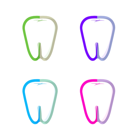 dental implants: Isolated colorful tooth contour vector set. Tooth hygiene collection on the white background. Dental implants icons group. Caries treatment sign Illustration