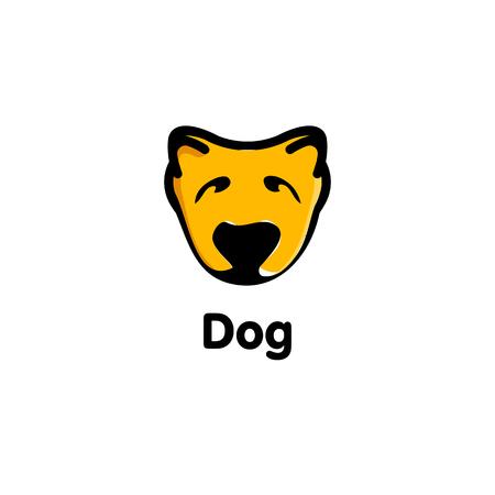 muzzle: Isolated orange color dog on the white background. Cute animal muzzle vector