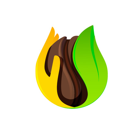 Isolated brown coffee bean in a hand and leaf vector