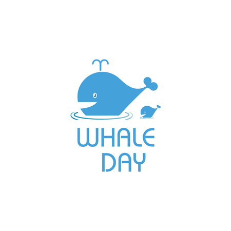extinct: Isolated cartoon whale vector illustration. Ocean mammal on the blue background image. International whale day vector illustration. Extinct animal symbol. White and blue color