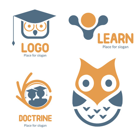 undergraduate: Isolated abstract studying vector set. Cartoon owl character collection. Education icons. School and university emblems