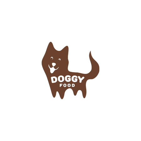 doggy: Isolated brown puppy vector illustration with doggy writing. Cheerful greeting pet . Cartoon dog . Domestic animal icon.