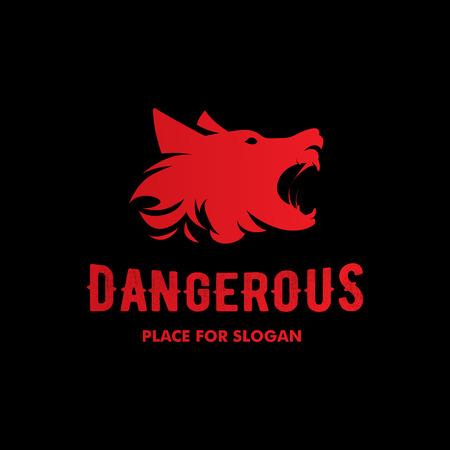 kampfhund: Isolierte wütend Bellen Hund Seitenansicht Vektor. Gefährliche Tier Kontur. Kämpfen Vereinsemblem. Hound und Watchdog-Illustration. Schwarze und rote Farbe.