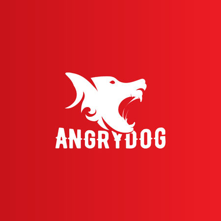 mongrel: Isolated angry barking dog side view vector . Dangerous animal contour . Fighting club emblem. Hound and watchdog illustration. White and red color.