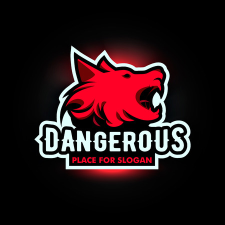 hound: Isolated angry barking dog side view vector . Dangerous animal contour . Fighting club emblem. Hound and watchdog illustration. Black and red color.