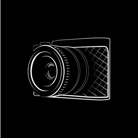 Isolated black photo camera vector illustration. Professional photographer equipment . Realistic object . Illustration
