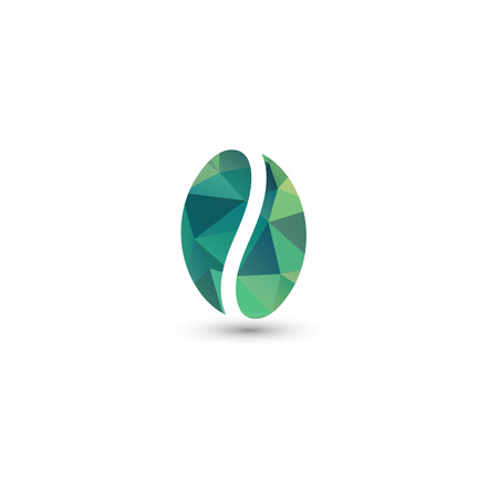 Isolated green vector coffee bean . Energetic drink symbol. Energy sign. Coffee break icon. Natural product. Eco plant. Organic design. Morning drink element. 向量圖像