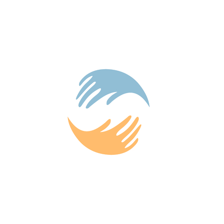 volunteering: Isolated colorful vector hands . Global friendship sign. Ukrainian national symbol. Volunteering icon. Charity ilustration. Help and support sign. Friendly humanity. Kind people. Brotherhood icon Illustration
