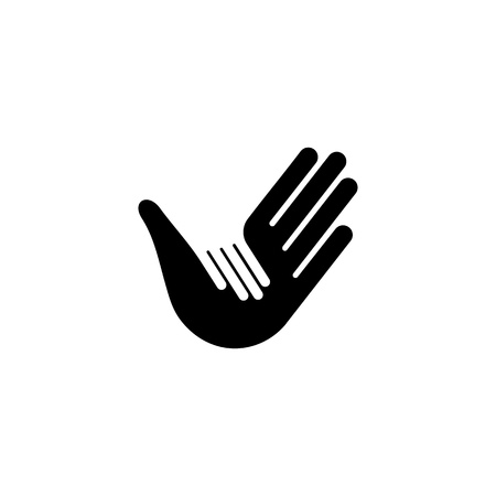 adoption: Isolated vector hands . Orphanage emblem. Family sign. Children care image. Adoption illustration. Child raising sing. Kindergarden icon. Charity for orphans. Help kids campaign. Racial issues.