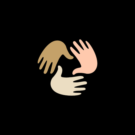 Isolated vector hands logo. Orphanage emblem. Family sign. Children care image. Adoption illustration. Child raising sing. Kindergarden icon. Charity for orphans. Help kids campaign. Racial issues.