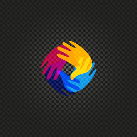fascism: Isolated vector hands . Orphanage emblem. Family sign. Children care image. Adoption illustration. Child raising sing. Kindergarden icon. Charity for orphans. Help kids campaign. Racial issues.