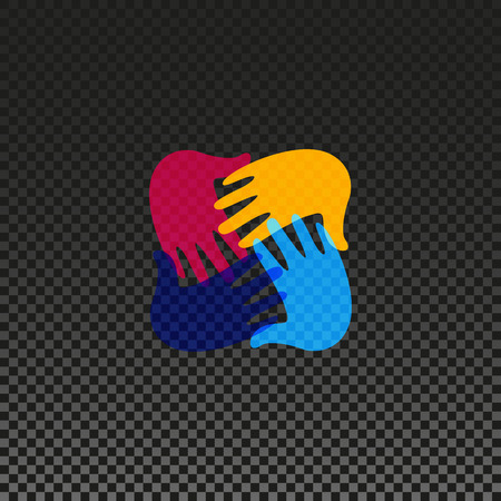 racial: Isolated vector hands . Orphanage emblem. Family sign. Children care image. Adoption illustration. Child raising sing. Kindergarden icon. Charity for orphans. Help kids campaign. Racial issues.