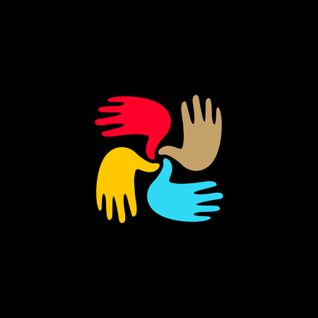 mutual aid: Isolated vector hands . Orphanage emblem. Family sign. Children care image. Adoption illustration. Child raising sing. Kindergarden icon. Charity for orphans. Help kids campaign. Racial issues.
