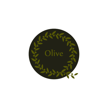 greek mythology: Isolated round green olive branch vector . Circlular shape. Olive oil sign. Symbol of peace. Greek mythology sign. Healthy products label. Organic cosmetics. Natural element.Agricultural item