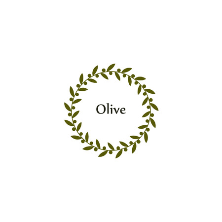 peace label: Isolated round green olive branch vector logo. Circlular shape. Olive oil sign. Symbol of peace. Greek mythology sign. Healthy products label. Organic cosmetics. Natural element.Agricultural item