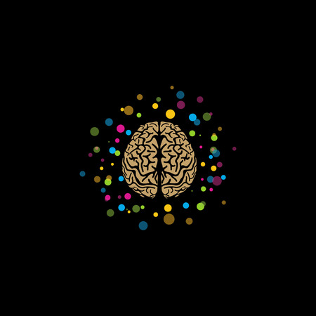 children s art: Brain . Stylized brain with color and bright balls around. Isolated vector . Brainstorm. Educational organization . Refresher courses. Brain activity. Thinking. Idea. Awareness.Learn .